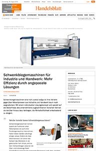 Teaser Handelsblatt Schwenkbiegemaschinen