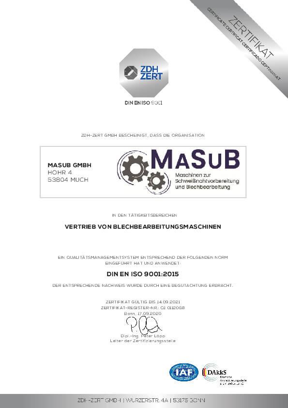 Masub Zertifikat 9001 2020 Thumbnail